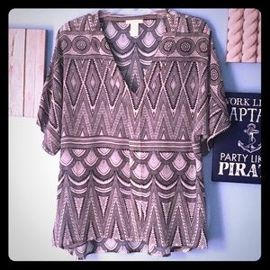 H&M Sheer Tribal Tunic Blouse